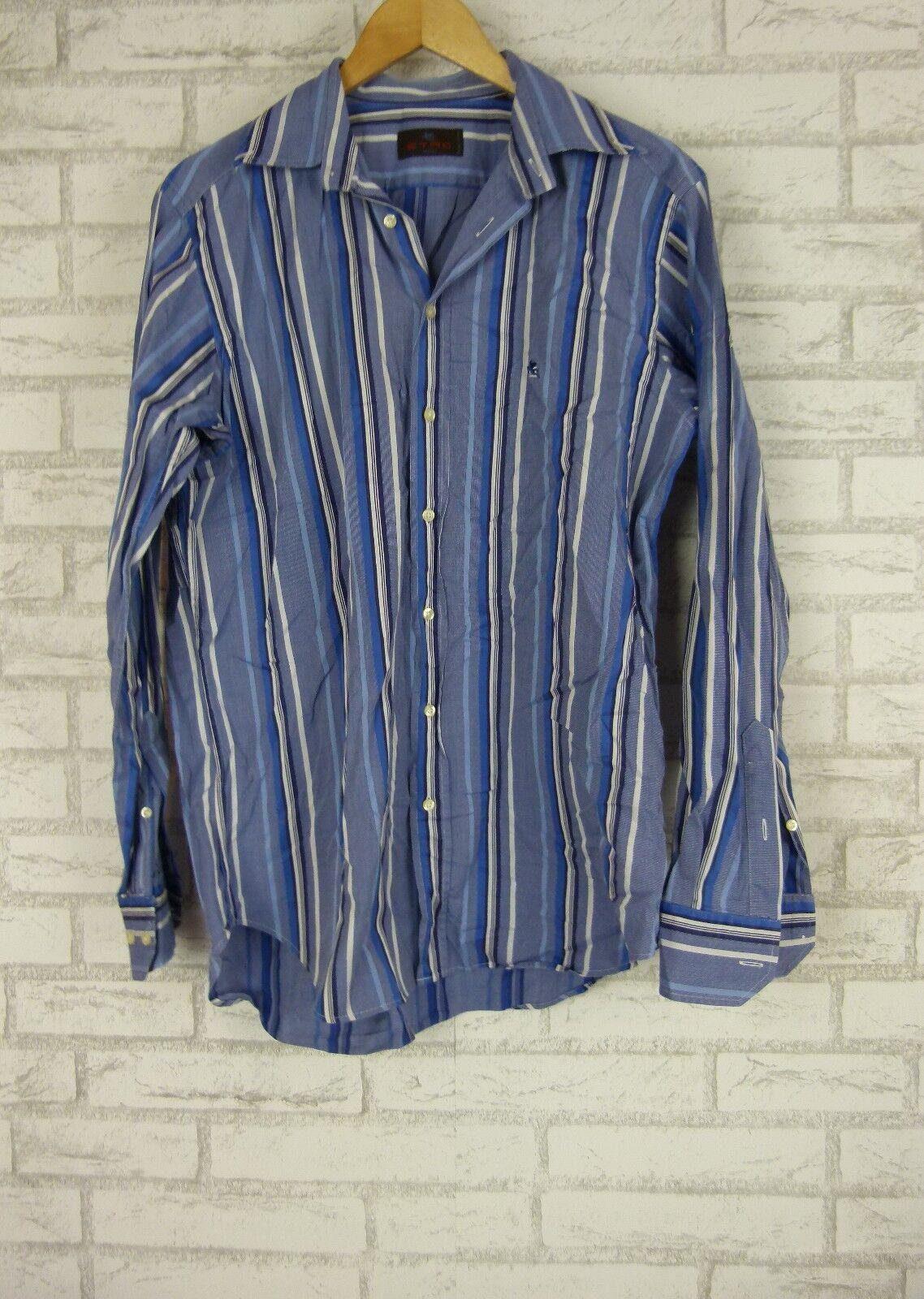 ETRO Shirt Sz 41 Made in  bluee, White Stripe