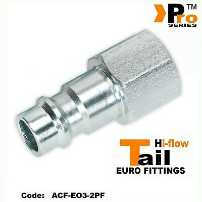 """Air Line Fittings-Hi Flow Quick Release 001 2 x 1//4/"""" Male Euro Tail"""