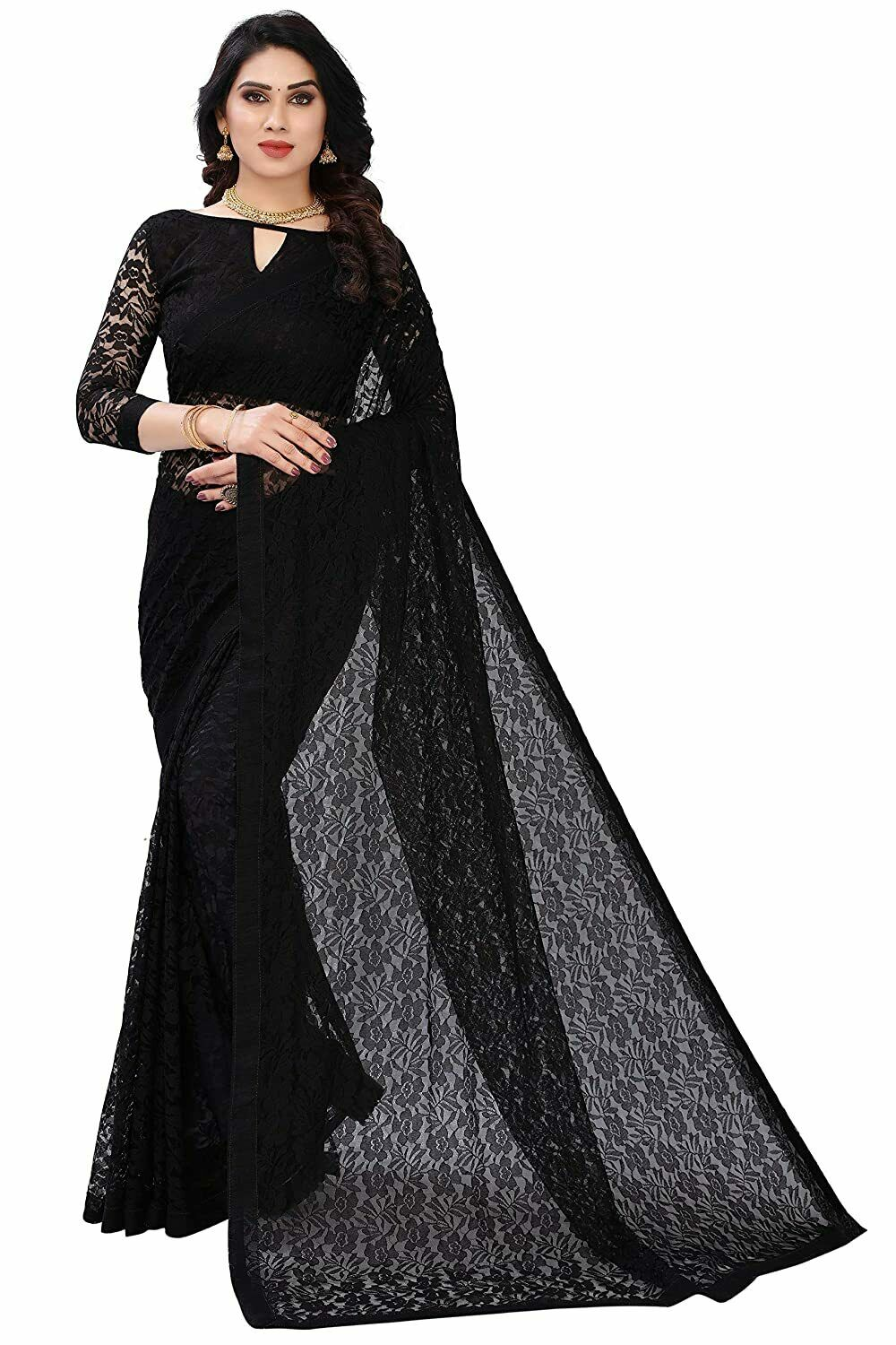 Indian Women's Jacquard Dyed, Net Saree With Blouse Piece, Black