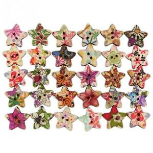 100pcs Wood Butterfly Handmade 2 Holes Wooden Buttons Sewing Scrapbooking new
