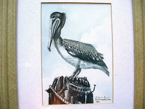 Beautiful-Vintage-Artist-Double-Signed-Pen-amp-Ink-and-Watercolor-1982-Pelican