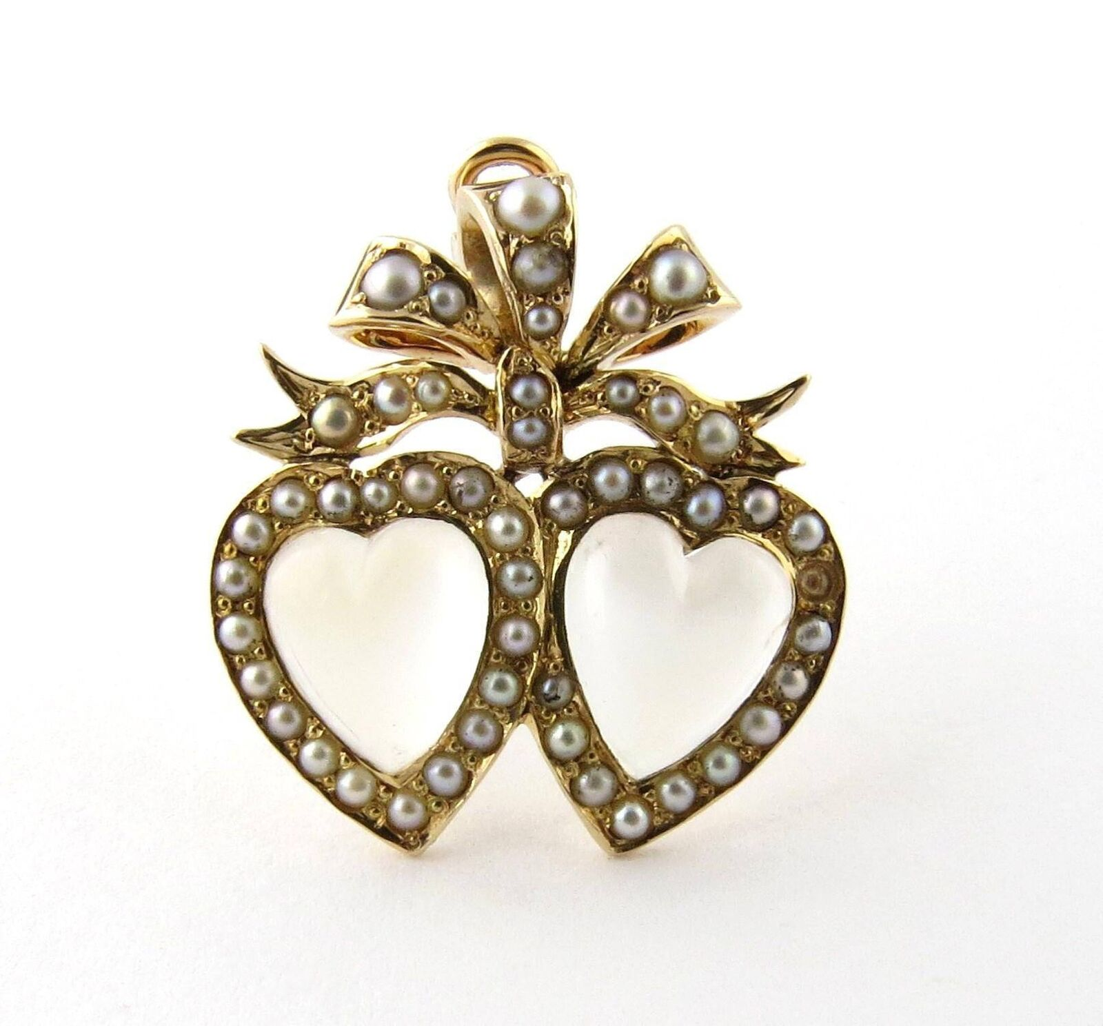 Antique Victorian 14K Yellow gold Double Heart Moonstone Pearl Pendant Pin