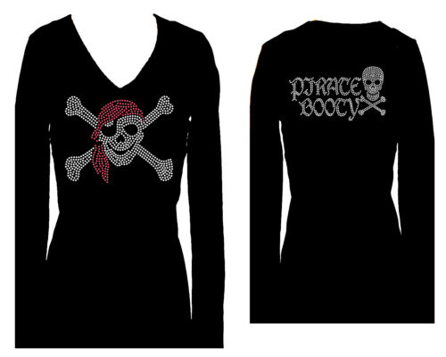 PIRATE SKULL BOOTY RHINESTONE WOMENS  PIRATES V NECK LONG SLEEVE TEE SHIRT