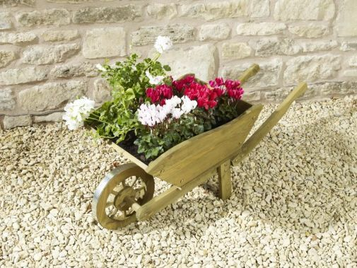 Wheel Barrow Garden Planter Large Pine Wooden Modern Stylish Flower Pot