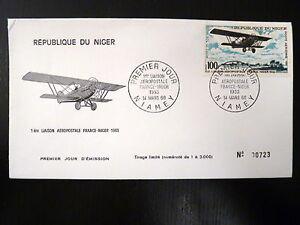 NIGER-AERIEN-85-PREMIER-JOUR-FDC-AVION-BIPLAN-POTEZ-25-100F-1968