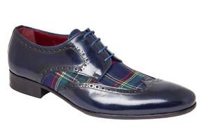 dc40b412734 La imagen se está cargando Zapatos-Ingleses-Cuadros-Textil-de-Piel-Azul- Cuero-