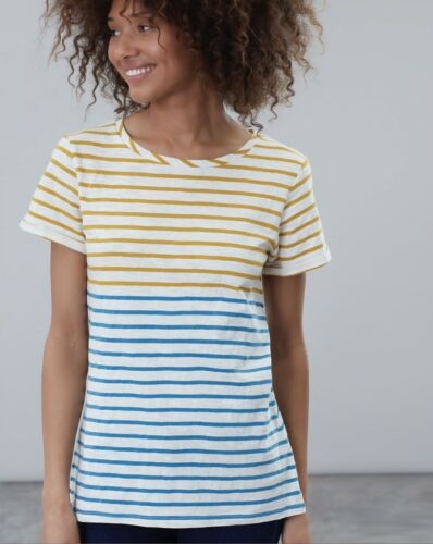 Joules Nessa Lightweight Jersey Tshirt Gold Blue Stripe BNWT UK 10
