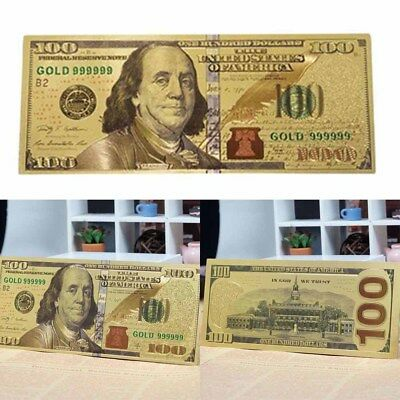 1PC Gold Foil Plastic Money Banknote Commemorative Coin Crafts Collection Gift
