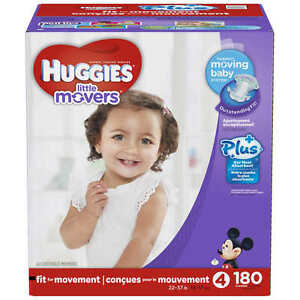 Huggies Little Movers Plus Diapers Size 4, 180ct