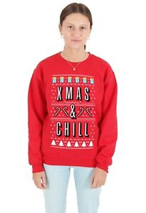 f19a425fff10 Image is loading Xmas-And-Chill-Christmas-Sweater-Top-Jumper-Sweatshirt-