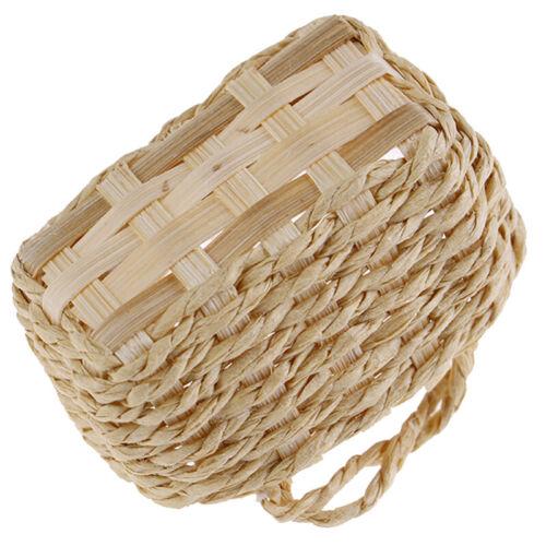 1//12 Dollhouse Miniature Accessories Rattan Frame Hand-woven Vegetable Basket
