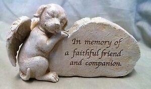 Dog-Memorial-Pet-Funeral-Ornament-Puppy-Inspiration-Garden-Stone-034-Sculpture-034