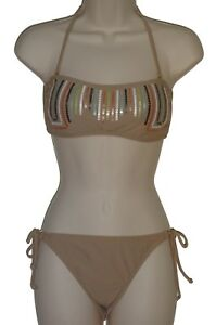 Bar-III-bikini-set-swimsuit-size-L-M-taupe-bandeau-ruched-back-nwt