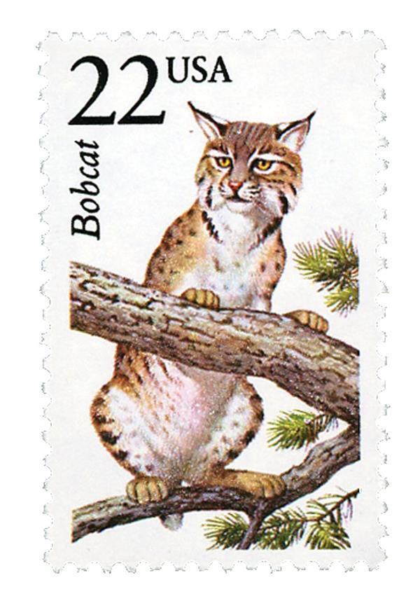 1987 22c Bobcat, North American Wildlife Scott 2332 Min