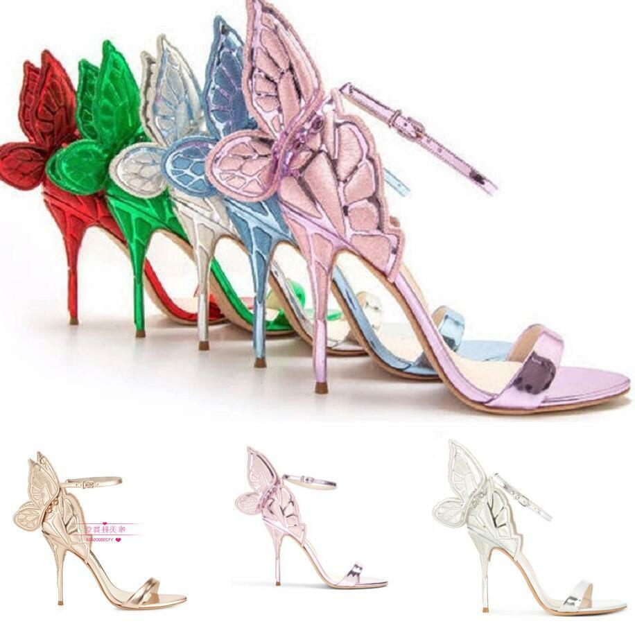 precios al por mayor Occidente Alas De Mariposa Mariposa Mariposa MultiColor para Mujer Hebilla Al Tobillo Zapatos Boda Tacones de aguja  envío gratis