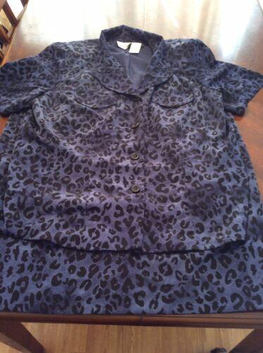Halmode Plus Vintage Leopard Print Blue Womens 2 P