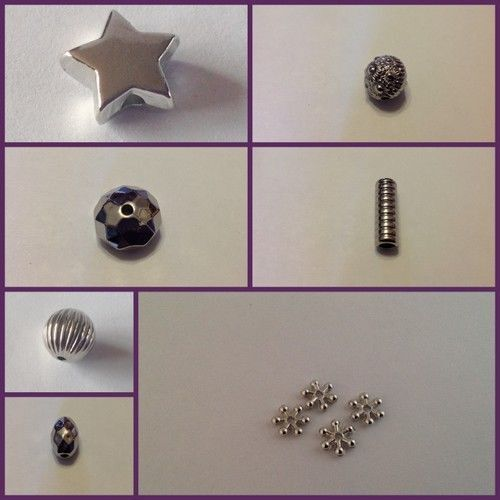 CCB Silver Acrylic Plastic spacer beads jewellery making Choose your design