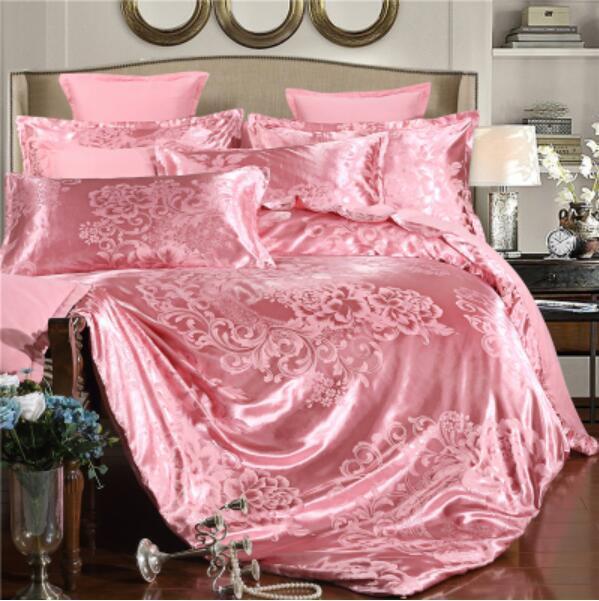 4Pcs Silk Duvet Cover Jacquard Bedding Floral Pillow Case Sheets Queen Size T811