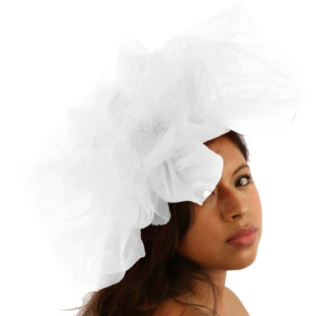 dfbc4587a5f08 Big Tulle Mesh Feathers Fishnet Headband Fascinator Bridal Cocktail Hat  White