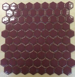 Maroon Hexagon Wall Amp Floor Mosaic Tile Ebay