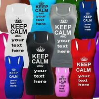 KEEP CALM personalised women's long vests top dresses 8-22
