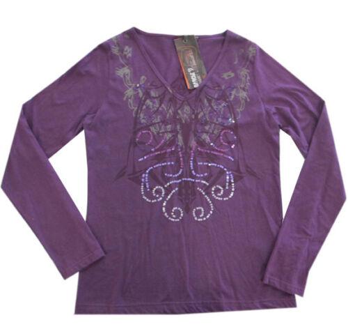 L Garcia Shirt T-shirt manches longues chemise manches longues femme noir violet taille S M