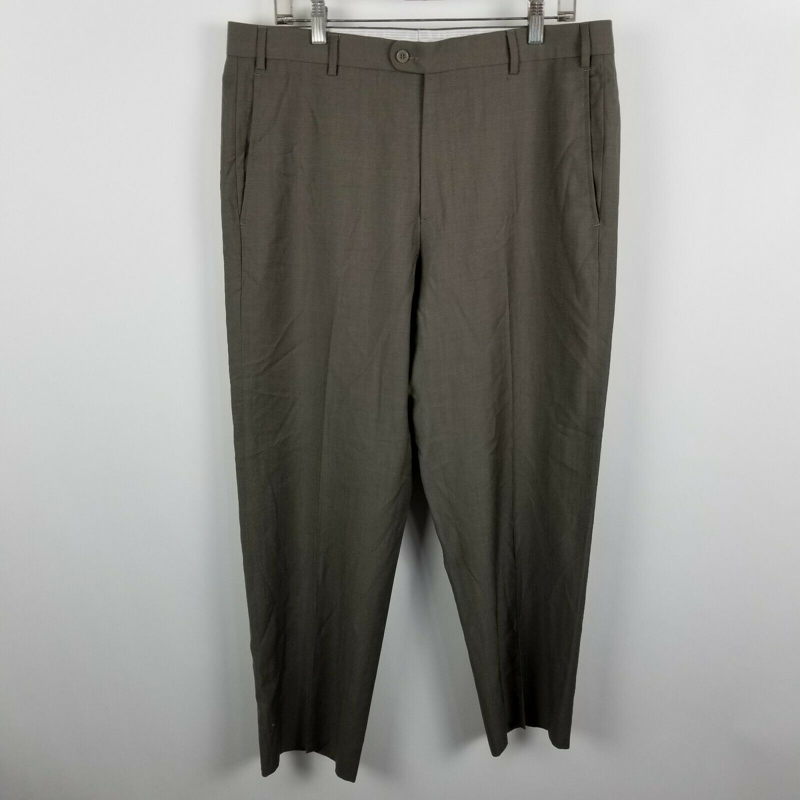 Zanella Nordstrom Todd Mens Flat Front Green-ish Brown Dress Pants Size 35x27
