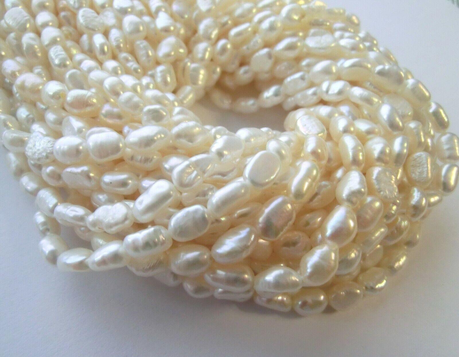 1 Strang Naturell Zuchtperlen Süßwasser Perlen 7x8mm-8x12mm,35cm ho New