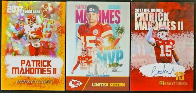 Patrick Mahomes 3 card ROOKIE LOT 2017 Superbowl 54 MVP All different