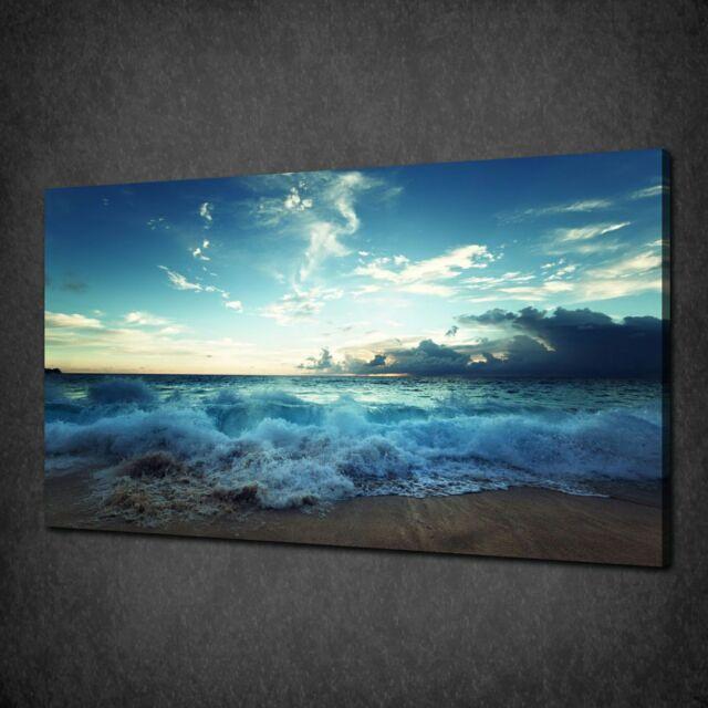 Large Sunset Sea Beach Sun Canvas Picture Wall Art chunky frame 113 x 52 cm
