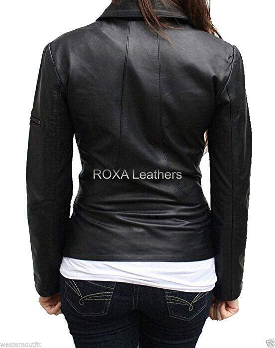 ROXA Trendy Women New Outfit Genuine Lambskin Real Leather Jacket Black Zip Coat