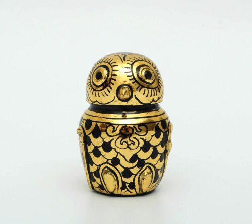 Burmese Lacquer Owl Jewelry Box Myanmar Lacquerware Black and Real Gold 24K Leaf