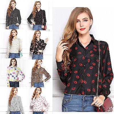 Fashion Women Print Long Sleeve Print Chiffon Blouse Casual Tops Shirt S/M/L/XL