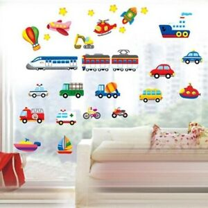 Details about Boys Room Wall Stickers Kids Art Cartoon Vehicles Childrens  Bedroom Cars Decals