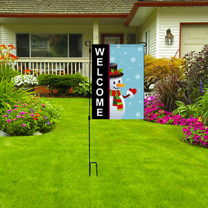 "WELCOME Garden Flag, Holiday Christmas Snowman Outdoor Home Yard Flag, 12""X18"""