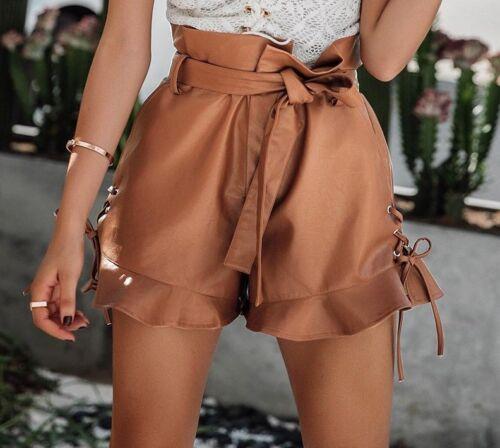 Leather Shorts Side Lace Up Black Women Belt High Waist Bottom Zipper Fly Solid