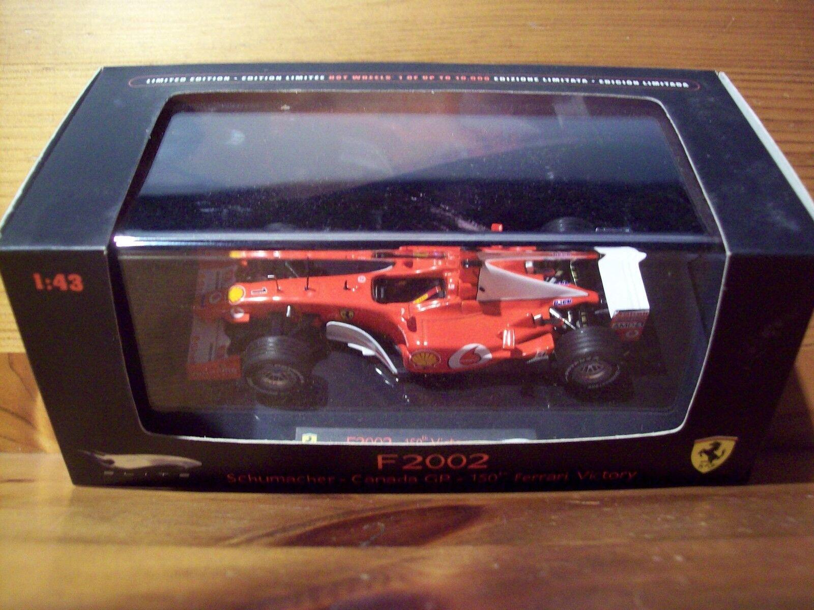 1/43 Mattel Elite Ferrari F2002 Michael Schumacher Schumacher Schumacher Canada GP 150th Ferrari Win fba5e1