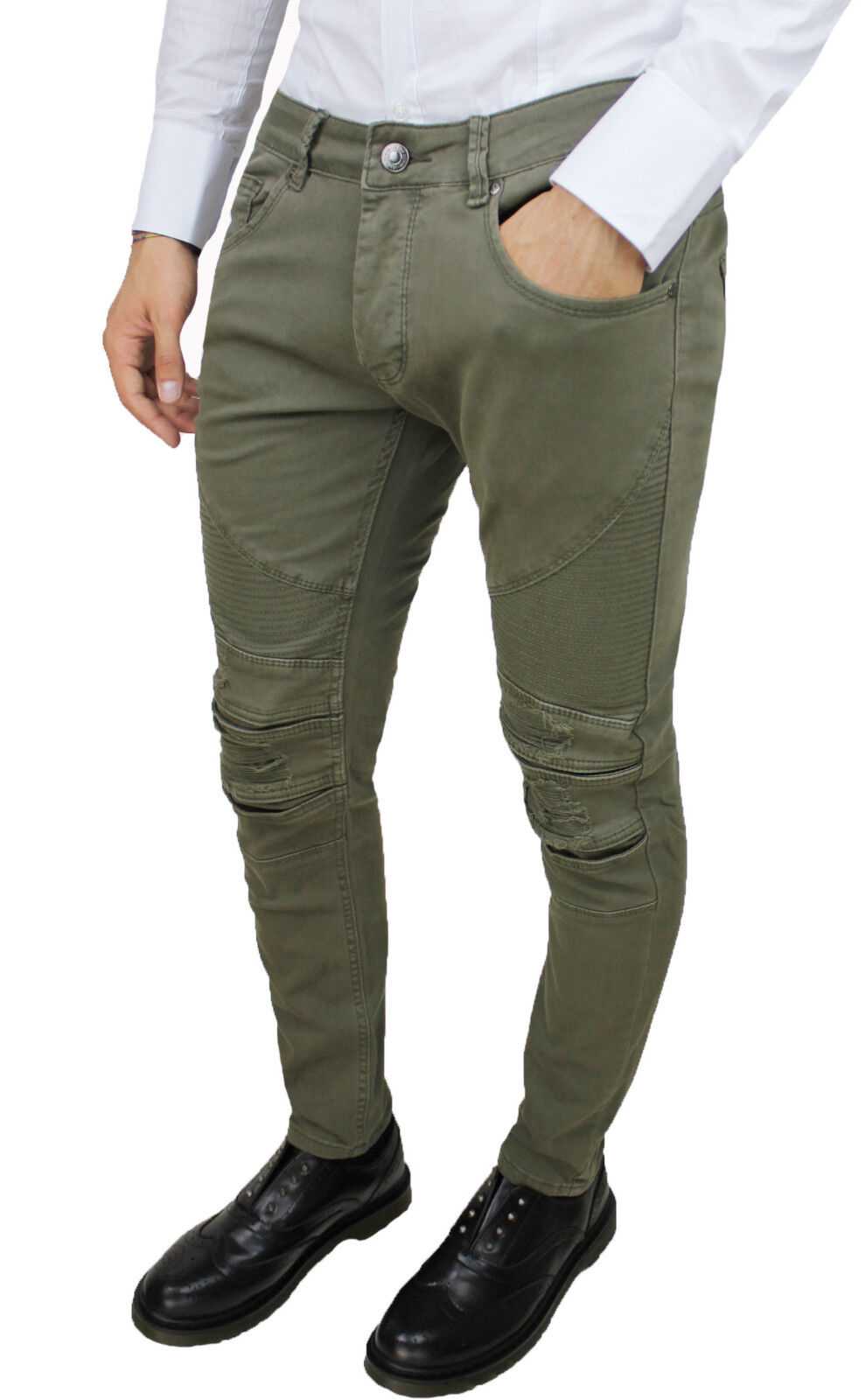 TROUSERS MAN SLIM FIT MILITARY GREEN TREND JEANS COTTON ELASTIC da 42 a 52
