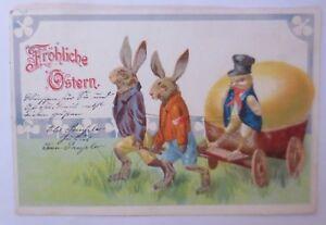 Ostern-Personifiziert-Osterhasen-Wagen-Kueken-Osterei-1900-67063