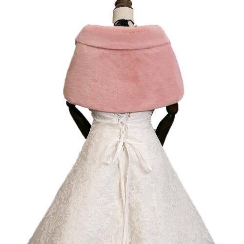 UK Women Faux Fur Shawl Stole Wrap Shrug Scarf Warm Party Coat Jacket Scarves K1