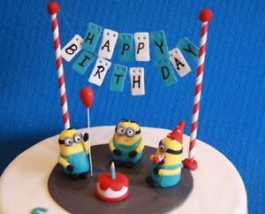 Image Is Loading Minion Cake Topper Set Happy Birthday Minions Fondant