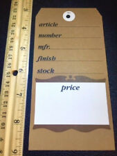 New Lot Of 25 Brown Old Colonial Design Large 6x3 Furniture Price Sign Tags