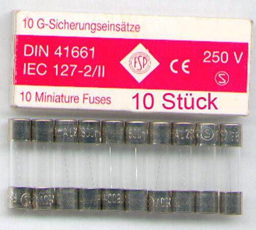 FLINK  NEU 125MA 10 x  FEINSICHERUNG  5x20MM  0,125A