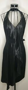 Vintage-Elegant-KAREN-MILLEN-Black-Halteneck-Metallic-Cocktail-Dress-UK-12