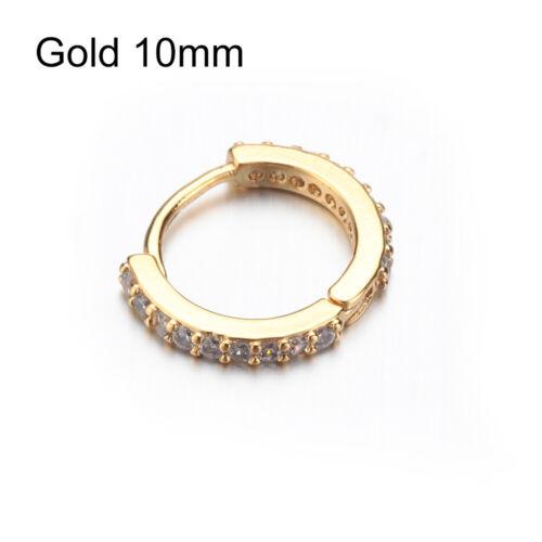 Gold Rosegold Body Jewelry Nose Ring CZ Ear Piercing  Huggie Hoop Earring