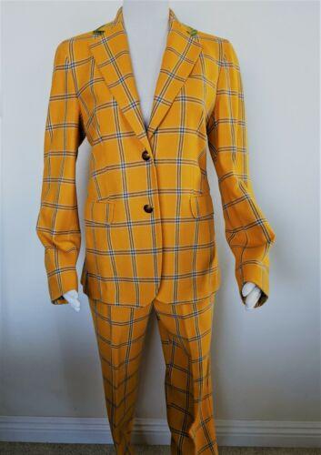 ETRO Mustard Yellow Plaid Wool Jacket Pants Suit S