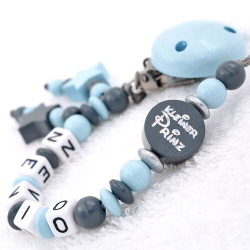 Schnullerkette mit Namen+Greifling SET♥ JUNGE ♥ FUCHS Babygeschenk blau grau