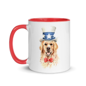 Best American Patriot Dog Coffee Mug With Color Inside New Usa Dog Puppy Tea Cup Ebay
