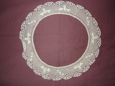 Painstaking #280 Beautiful Vintage Handmade Filet Collar 11'' Antiques 27cm