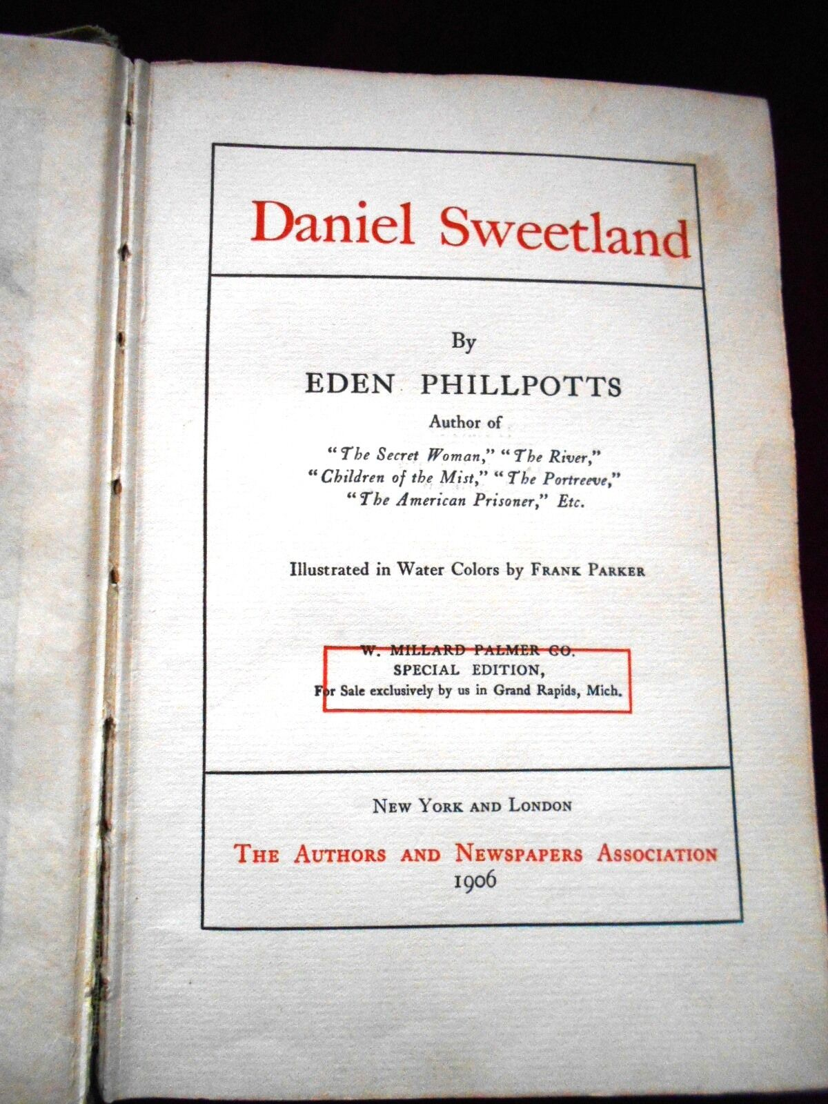 DANIEL SWEETLAND Eden Phillpotts ILLUS Frank Parker HC 1906 Action  Adventure USA